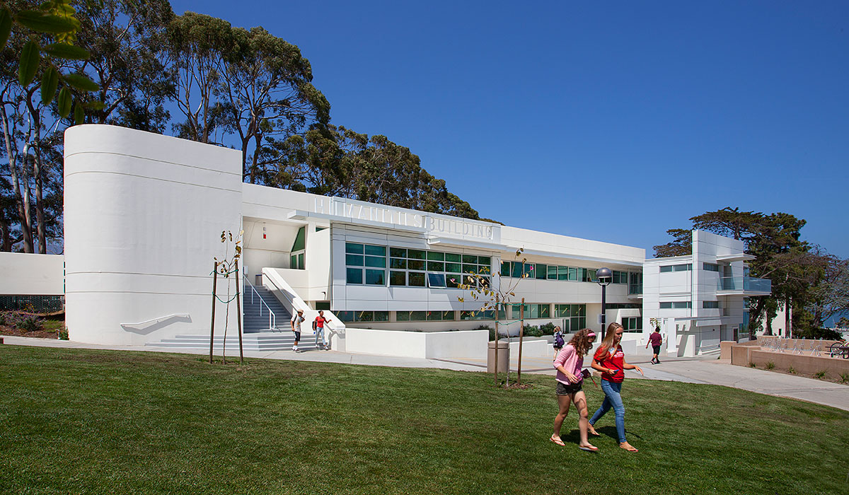 SBCC Students walk to class near the Humanities Building.